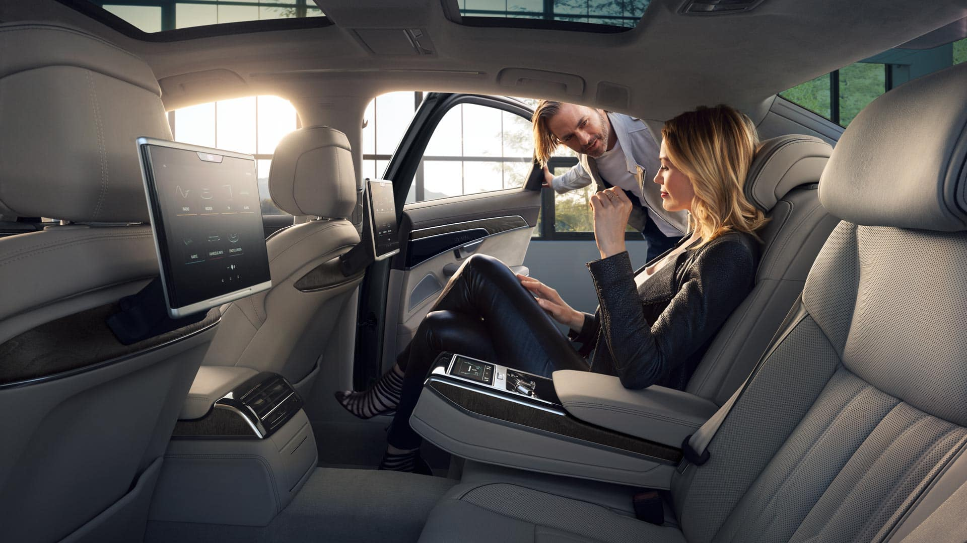 The new audi a8 audi cayman islands massage on heated and ventilated resting chairs a double folding table even your own climate zone all this awaits you in the rear of the new a8 sciox Image collections